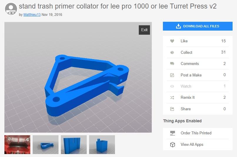 Lee Pro 1000 Primer Catcher 3d Printed